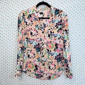 Express The Portofino Pink Floral Button Up Shirt